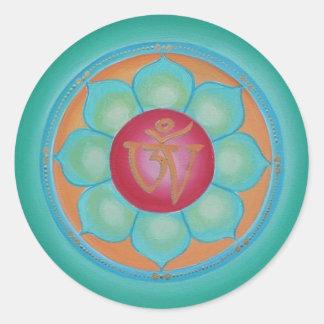 Tibetan lotusblommaMandala Runt Klistermärke
