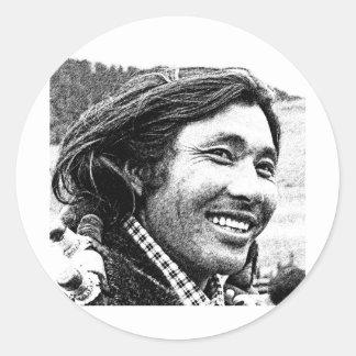 Tibetan man runt klistermärke