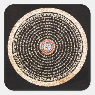 Tibetan Mandalakonst (guld & svarten) Fyrkantigt Klistermärke