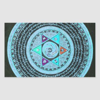 Tibetan Mandalakonst (turkos & svarten) Rektangulärt Klistermärke