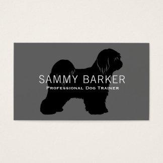 Tibetan TerrierSilhouettesvart på grå färg Visitkort