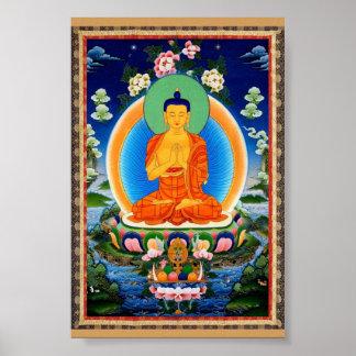 Tibetana Thangka Prabhutaratna Buddha Poster