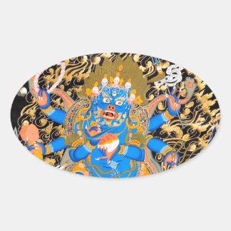 Tibetant buddistiskt konsttryck ovalt klistermärke