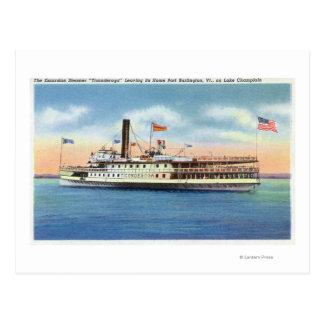Ticonderoga Steamer som lämnar port Burlington, Vykort