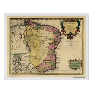 Tidig Brasilien karta 1719 Poster