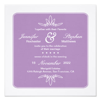 Tidlös berlock kvadrerar bröllopinbjudan - Orchid Fyrkantigt 13,3 Cm Inbjudningskort