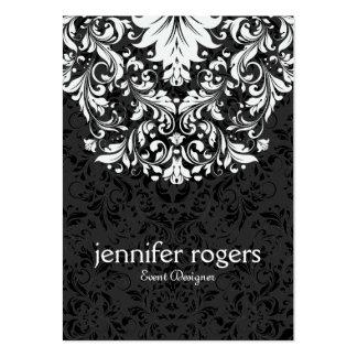 Tidlöst svartvitt snöre & damast set av breda visitkort