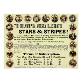 Tidning Philadelphia veckoför 1918 stjärnor & rand Poster