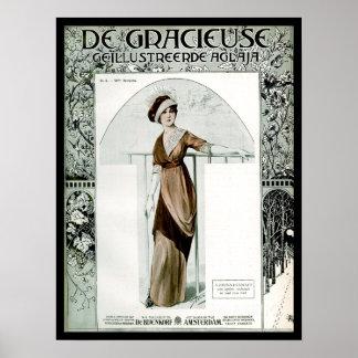 Tidskriften för mode för KRW-vintage 1907 täcker Poster