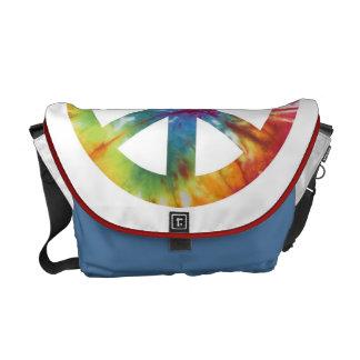 Tie färgad fredsteckenmessenger bag kurir väskor