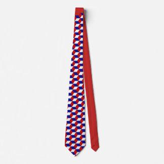 Tie - kvarterillusion i rött, vit, (röda) blått, slips