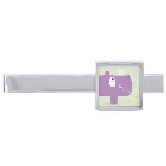 Tiepub med handdrawn noshörning silverpläterad slipsnål