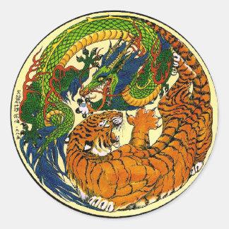 Tiger & drake Yin Yang Runt Klistermärke