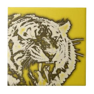 Tiger för brumma för Grungegult abstrakt Kakelplatta