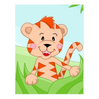 Tiger i gräs vykort