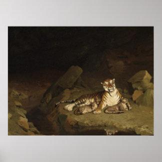 Tiger och ungar Jean-Leon Gerome 1884 Poster