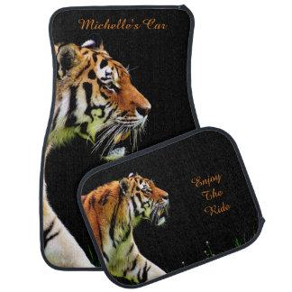 Tiger på svart *personalize* bilmatta