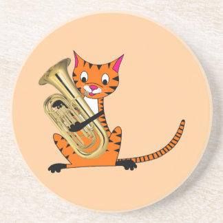 Tiger som leker euphoniumen underlägg sandsten