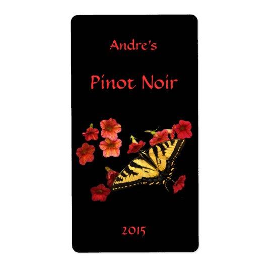 Tiger Swallowtail på röd blom- vinetikett Fraktsedel