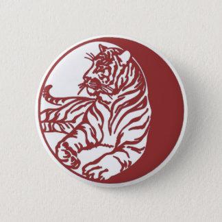 Tigerillustration i vit standard knapp rund 5.7 cm