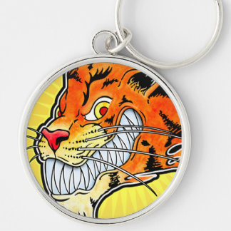 Tigern Keychain - grina Rund Silverfärgad Nyckelring