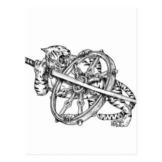 Tigern med Katana och Dharma rullar tatueringen Vykort