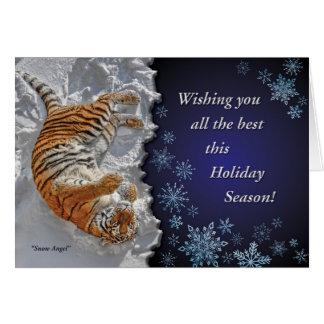 """Tigern """"snöängel"""" alla Faiths semestrar kortet Hälsningskort"""