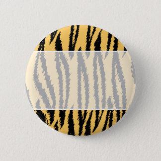 Tigertryckmönster. Orange och Black. Standard Knapp Rund 5.7 Cm