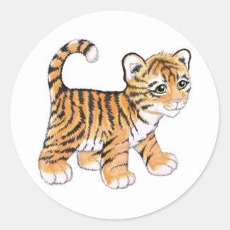 Tigerunge Runt Klistermärke