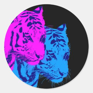 Tigrar för vintage för Corey tiger80-tal tvilling- Rund Klistermärke