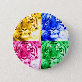 Tigrar i colors_ standard knapp rund 5.7 cm