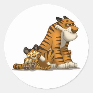 Tigrar på klistermärkear runda klistermärken