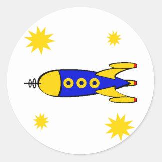 Till den Retro spaceshipen för måne Runt Klistermärke