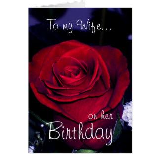 Till min fru på henne Födelsedag-Röd rosa Hälsningskort