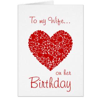 Till min fru på henne romantiska Födelsedag-Röda Hälsningskort