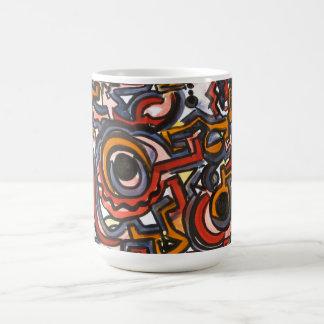Till och med denAbstrakt konsten räcka målat Kaffemugg
