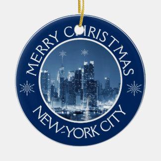 Tillägg för jul för New York City horisontfoto Julgransprydnad Keramik