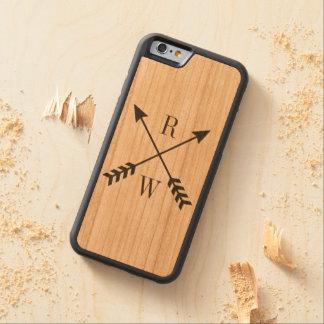 Tillbaka Monogrammed iphone case för trä Carved Körsbär iPhone 6 Bumper Skal