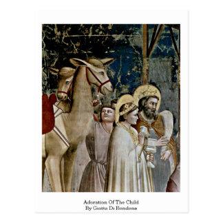Tillbedjan av barnet av Giotto Di Bondone Vykort