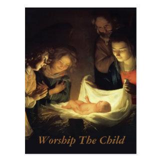 Tillbedjan av barnvykortet vykort