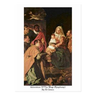Tillbedjan av magina (Epiphany) vid El Greco Vykort