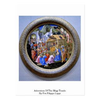 Tillbedjan av magina Tondo vid Fra Filippo Lippi Vykort