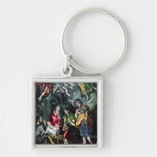 Tillbedjan av shepherdset fyrkantig silverfärgad nyckelring