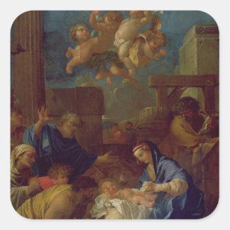 Tillbedjan av shepherdset fyrkantigt klistermärke