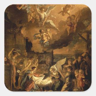 Tillbedjan av shepherdskonstjulen fyrkantigt klistermärke