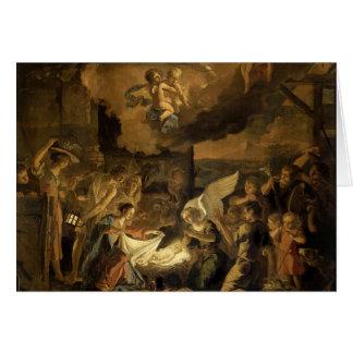 Tillbedjan av shepherdskonstjulen hälsningskort