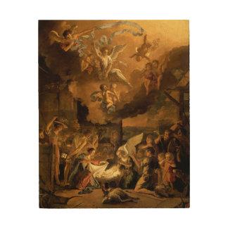 Tillbedjan av shepherdskonstjulen trätavla
