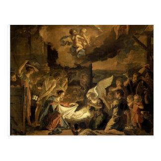 Tillbedjan av shepherdskonstjulen vykort