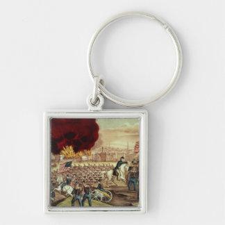 Tillfångatagandet av Atlanta av den fackliga armén Fyrkantig Silverfärgad Nyckelring