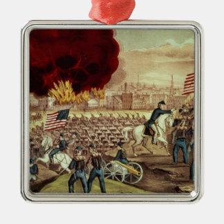 Tillfångatagandet av Atlanta av den fackliga armén Silverfärgad Fyrkantigt Julgransprydnad